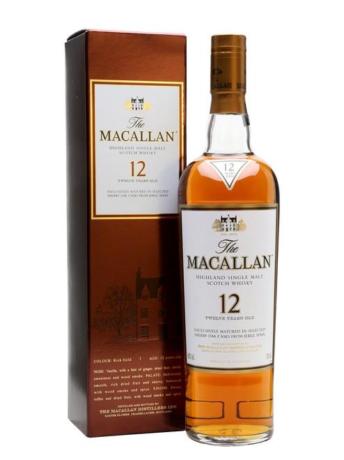 Macallan 12 Year Old Sherry Oak Scotch Whiskey 750mL
