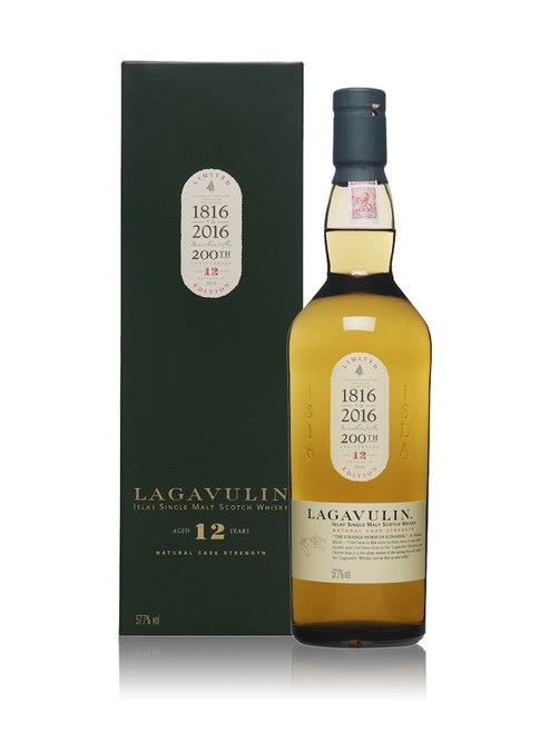 Part of the Diageo Special Releases 2016 Collection, this limited edition 12 year old from Lagavulin commemorates the 200th Anniversary of the Islay distillery. Only available in limited quantities worldwide, this Islay Single Malt is bottled at a natural cask strength from refill American oak hogsheads.  Nose: characteristic peat smoke with sweet icing sugar, lemons and spearmint notes.  Palate: smooth and sweet, a bar of fruit and nut chocolate warming in the smoke with grainy cereals.  Finish: refined with smoke warming long after the liquid's gone.