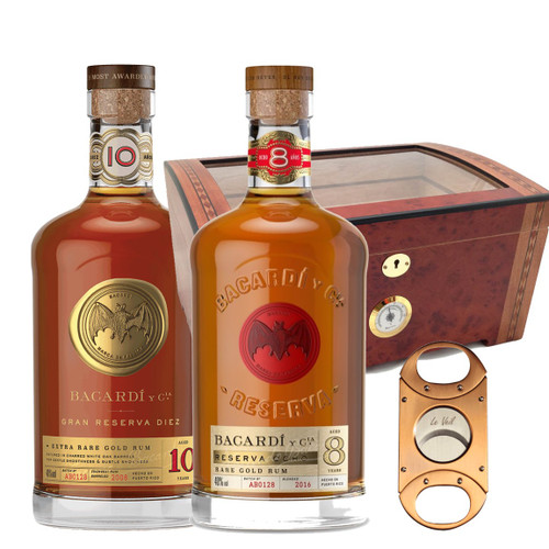 Bacardi Grand Reserve 10 YR & 8 YR Gift Set w/ Humidor and Cigars