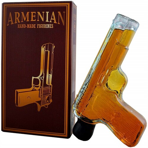 "Propscan Brandy - Armenian Brandy ""Pistol"" Hand Blown Glass Souvenir Bottle 200mL"