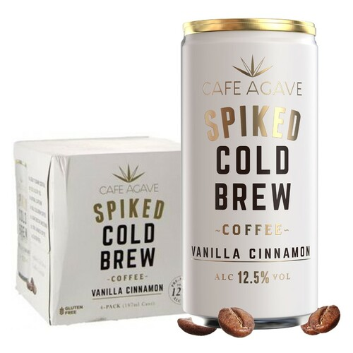 Cafe Agave Spiked Cold Brew Coffee Vanilla Cinnamon 4 Pack