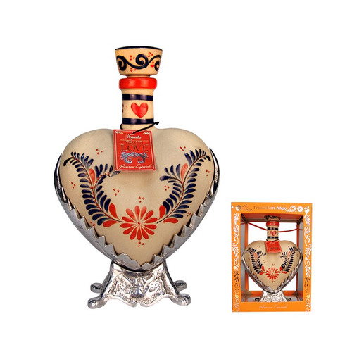 Grand Love Tequila Anejo Hand Painted Ceramic Heart Bottle 750mL