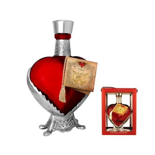 Grand Love Tequila Anejo Red Heart Bottle 750mL