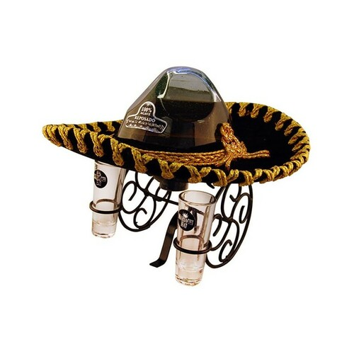 Mariachi Hat Gold Tequila with 2 Shot Glasses 1L