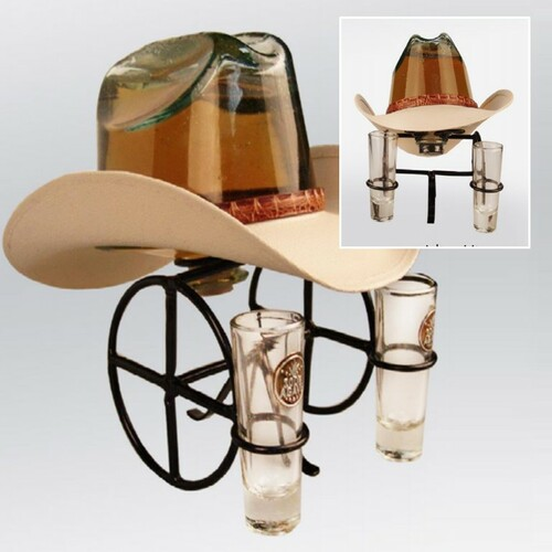 Rodeo Hat Gold Tequila With 2 Shot Glasses 1L