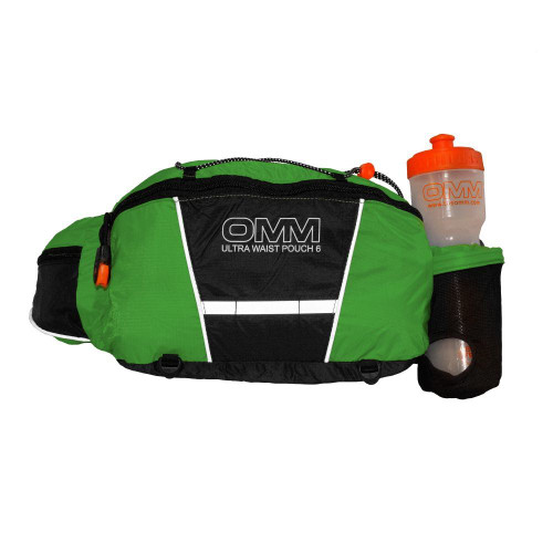 6 LITRE WAIST WITH LARGE STORAGE FOR LONGER RUNS A larger waist pouch with innovative 'quick stash' single handed bottle holster, supplied complete with OMM Ultra Bottle. A favourite with Ultra runners who need to carry that little bit extra, or for longer training runs. A great size to get all fell race approved items plus your essentials in without having to move to a rucksack.