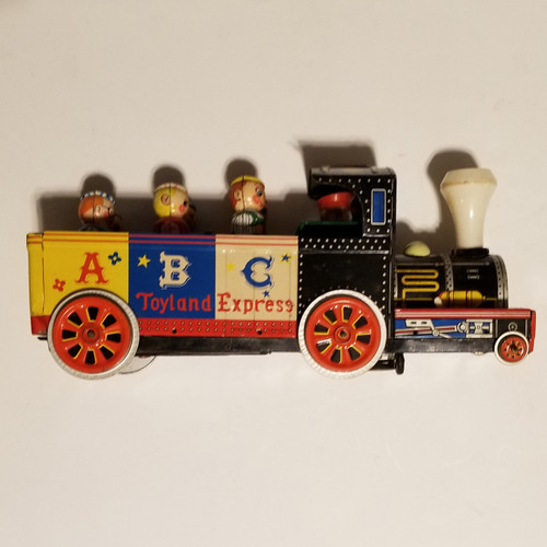 "Rare HTF Vintage 1960's 14"" Tin Toy Train Toyland Express Masudaya Modern Japan"