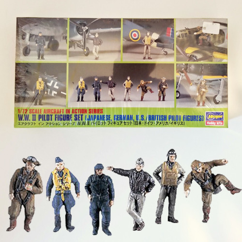 Hasegawa WWII Pilot Figure Set Japanese, German, US, British Figure Set 1/72 Model Kit 35008