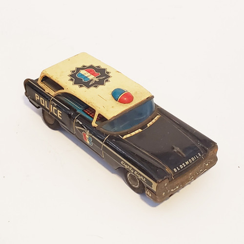 Vintage 1950's Nakamura Japan Tin Toy Highway Patrol Police Car Oldsmobile Eight-Eight