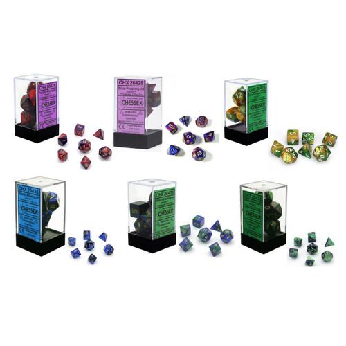 Chessex Gemini 7-Die Swirled Dice Set w/ Storage Box CHX264xx