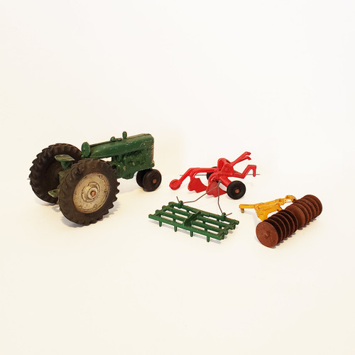 Vintage 1950's Original Slik-Toy Cast Metal Tractor w/ Accessories
