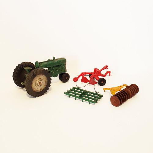 Vintage 1950's Original Slik-Toy Cast Metal Tractor w/ Accessories