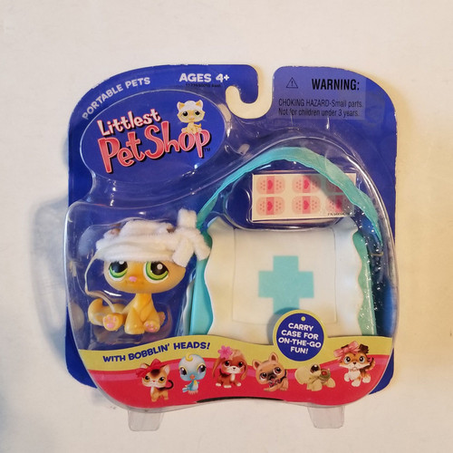 Vintage 2005 Littlest Pet Shop LPS Hasbro Portable Pets Kitten w/First Aid Bag #94 Retired MOC HAS12141