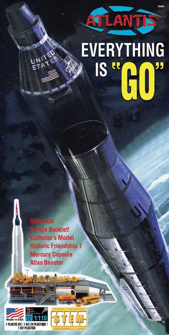 Atlantis Models Atlas Rocket w/ John Glenn Mercury Capsule Plastic Model Kit 1/110 Scale H1833