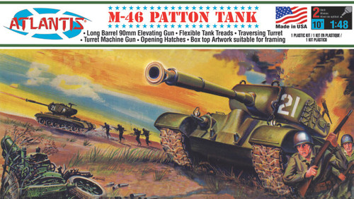 Atlantis Models M-46 Patton Tank Plastic Model Kit 1/48 Scale A301