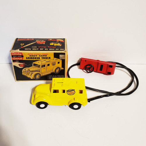 Vintage 1950's Andy Gard Remote Control Armored Truck Piggy Bank w/ Motor Powered Steering #82-20