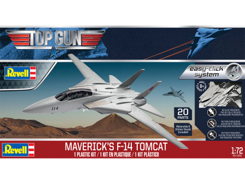 Revell Top Gun Maverick's Grumman F-14 Tomcat 1/72 Scale Easy-Click Plastic Model Kit 85-1268