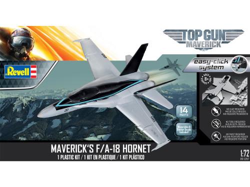 Revell Top Gun Maverick's McDonnell Douglas F/A-18 Hornet 1/72 Scale Easy-Click Plastic Model Kit 85-1267