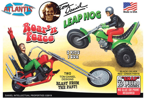 Atlantis Models Tom Daniel Leap Hog ATV & Roar'N Peace Motorcycle Plastic Model Snap Kits