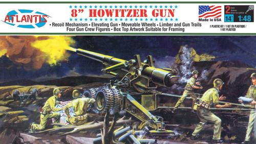 """Atlantis Models 8"""" Howitzer Gun 1/48 Plastic Model Kit A307"""