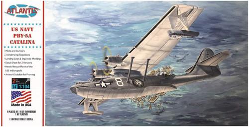 Atlantis Models US Navy PBY-5A Catalina Seaplane 1/104 Scale Plastic Model Airplane Kit M5301