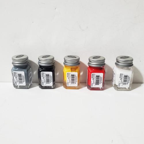 Testors 5pc Flat Enamel Paint Set Yellow Gray White Red Black
