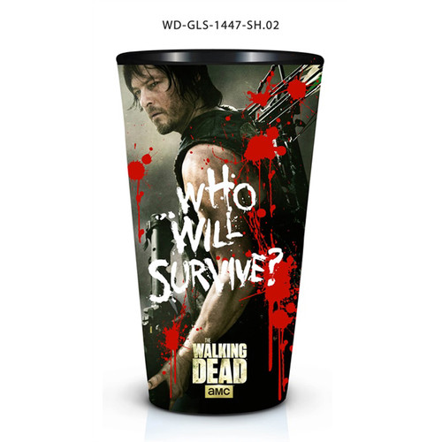Just Funky Walking Dead Pint Glass Daryl Dixon Who Will Survive (WD-GLS-1447)