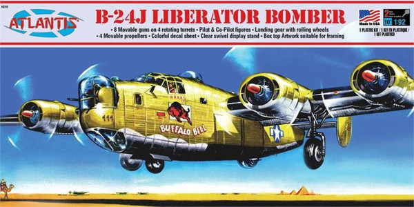 Atlantis Models B-24J Liberator Bomber Buffalo Bill Plastic Model Kit 1/92 Scale H218