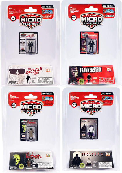 World's Smallest Mego Horror Micro Action Figure: Invisible Man, Frankenstein, Dracula, Nosferatu Super Impulse 5028
