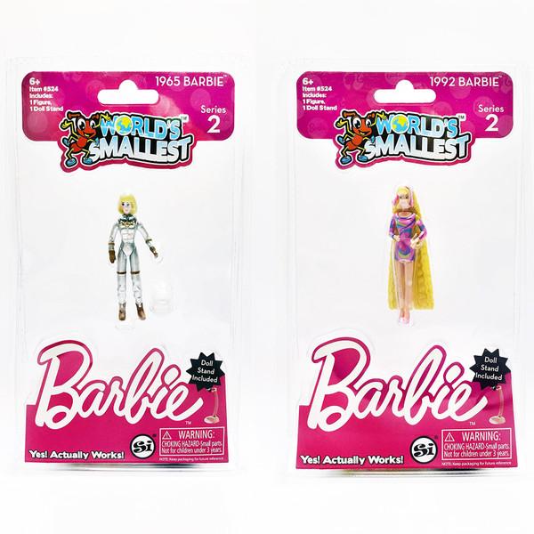 Worlds Smallest Barbie Doll Series 2: 1965 Barbie Astronaut & 1992 Totally Hair Barbie Super Impulse #524