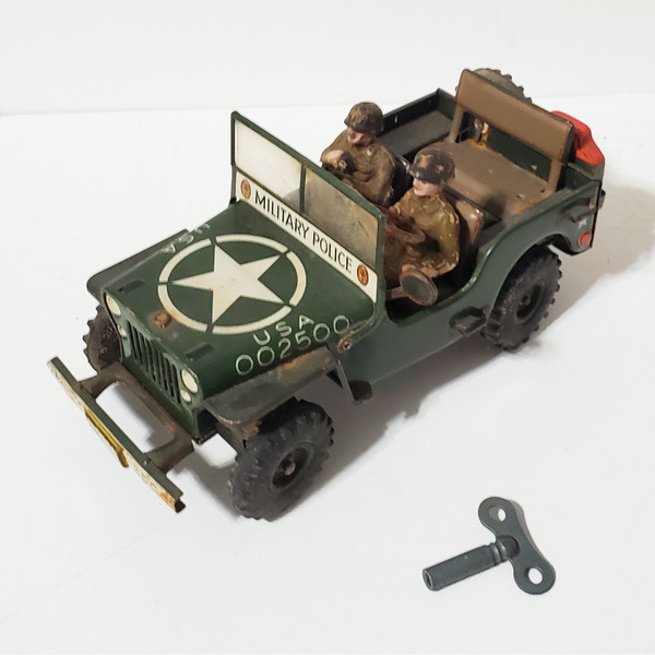 Arnold 2500 US Army Military Jeep Wind-Up Tin Toy Vintage 1950's W. Germany RARE