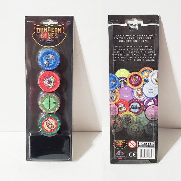 Dungeon Bones D&D Condition Chips by Giga Mech Games 20pcs w/ Storage Pouch DB001
