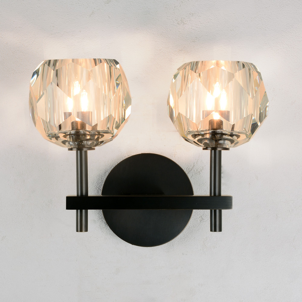 huge selection of c950a efe57 Balle Be Crystal Wall Sconce 2 Lights Bronze