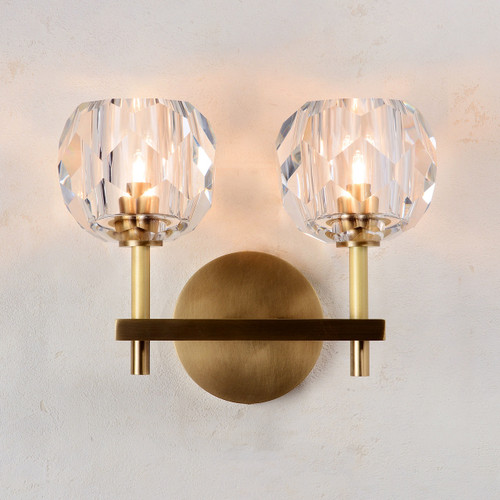Balle Be Crystal Sconce 2 Lights Brass