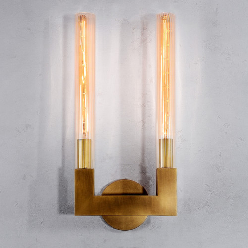 Crown Double Sconce Brass