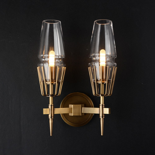 Caldwell Double Sconce Brass