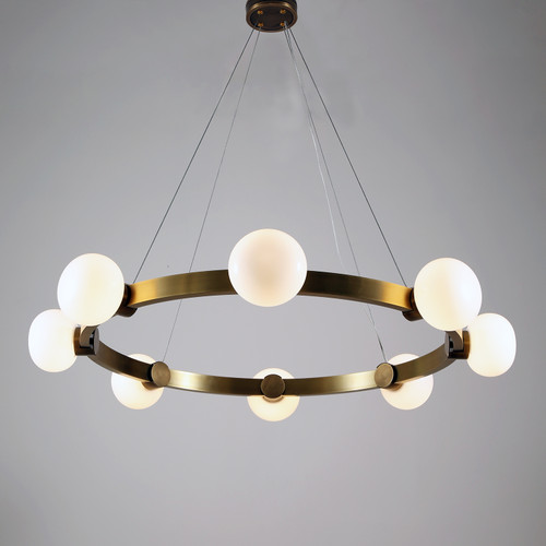 Globe Brass Chandelier 8 Lights