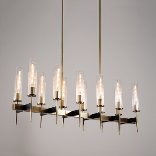 Aicken Chandelier 12 Lights Brass