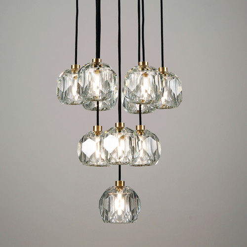 Balle Be Crystal Ball Pendant 10 Lights Brass