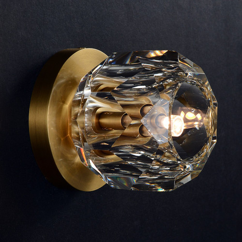 JRS Balle Be Crystal Petite Single Sconce and Flushmount Brass