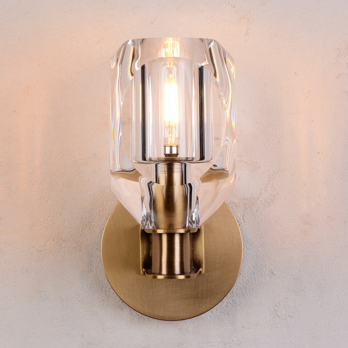 Charles Crystal Wall Sconce Brass