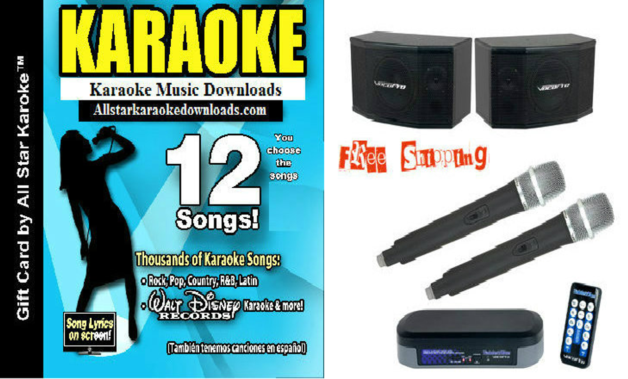 VocoPro TableOke Mxer and Wireless Microphone Bluetooth System with the  VocoPro VP-400 Powered 400 watt Speakers with 12 Song All Star Karaoke Gift