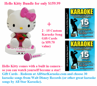 Hello Kitty Karaoke Player - with two -15 Song Custom Karaoke Gift Card -  you get to pick 30 songs from our custom CD selections