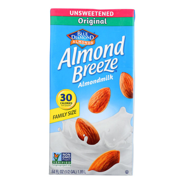 Almond Breeze - Almond Milk - Unsweetened Original - Case Of 8 - 64 Fl Oz.