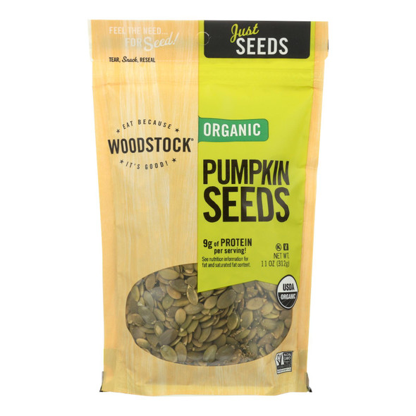 Woodstock Organic Shelled And Unsalted Pumpkin Seeds - Case Of 8 - 11 Oz