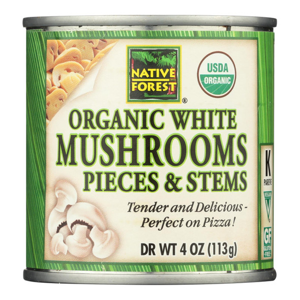 Native Forest Organic Mushrooms - Pieces And Stems - Case Of 12 - 4 Oz.