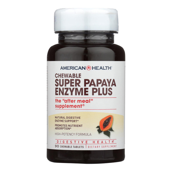 American Health - Super Papaya Enzyme Plus Chewable - 90 Chewable Tablets