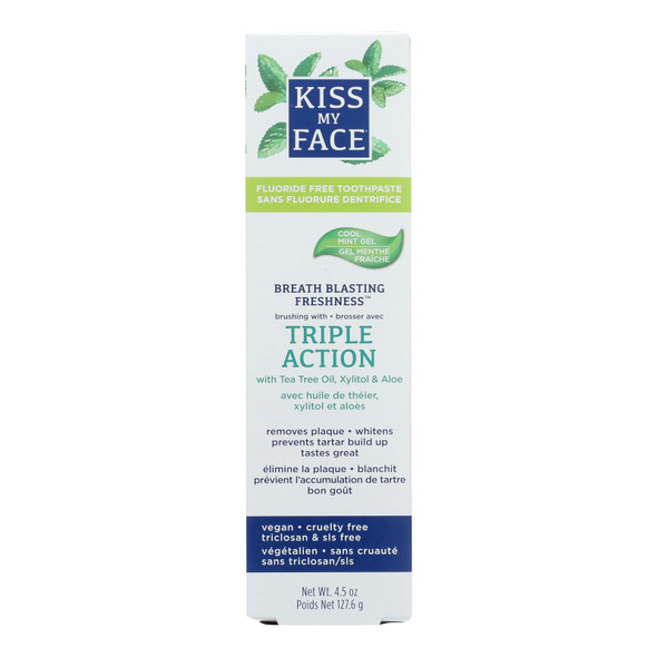 Kiss My Face Toothpaste - Triple Action - Fluoride Free - Gel - 4.5 Oz