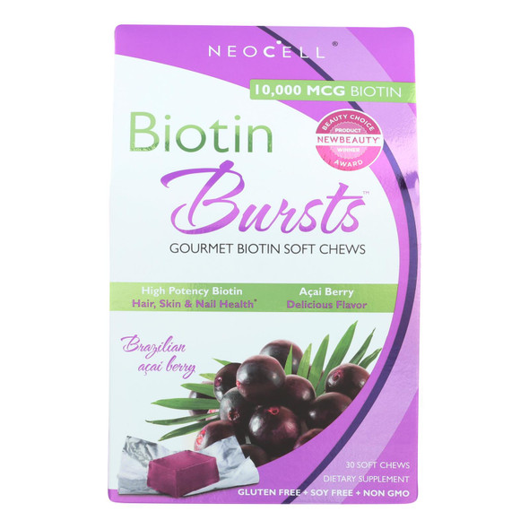 Neocell Laboratories Biotin Bursts - Chewable - Acai Berry - 30 Count