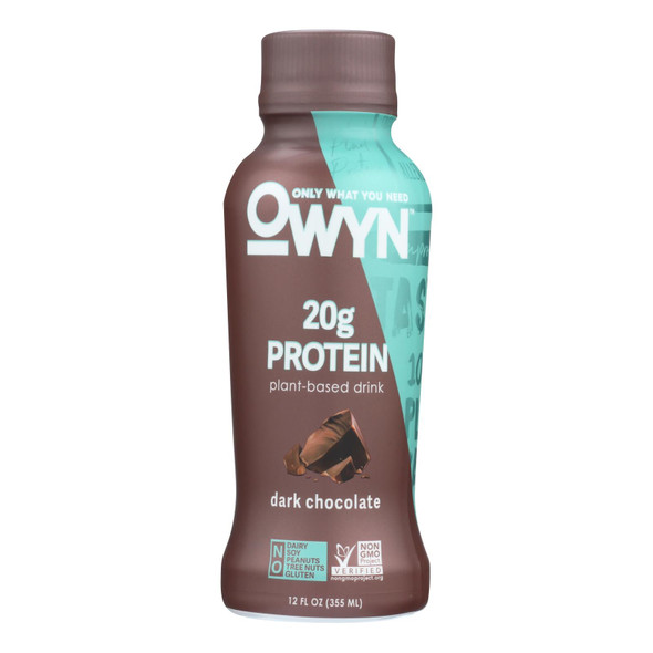 Only What You Need - Plant Based Protein Shake - Dark Chocolate - Case Of 12 - 12 Fl Oz.